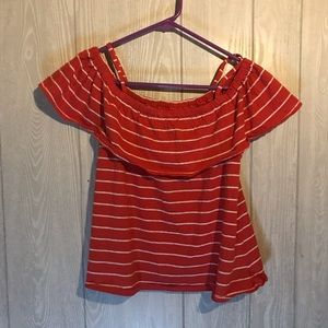 NWOT Tucker + Tate Red Striped Off the Shoulder